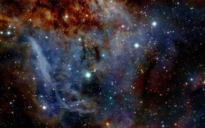 Картинка Nebula, RCW 38, Gas Clouds, The Sails, Constellation of Vela, HAWK-I, HII region, O-type stars, …