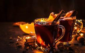 Картинка свет, праздник, чай, новый год, горячий, рождество, апельсины, пар, напиток, кружки, корица, гирлянда, праздничный, чай …