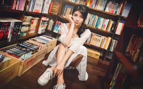 Картинка взгляд, поза, модель, книги, кеды, портрет, макияж, платье, брюнетка, прическа, библиотека, ножки, азиатка, красотка, сидит, …