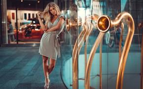 Обои отражение, Девушка, платье, блондинка, туфли, ножки, Sofy, Marco Squassina
