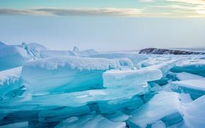 Картинка зима, небо, снег, берег, лёд, ледник, льдины, водоем