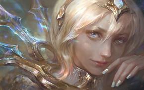 Картинка girl, fantasy, blue eyes, face, diamond, blonde, Princess, artwork, fantasy art, close up, tiara, fantasy …