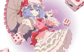 Картинка девушка, улыбка, зонт, Touhou, игральные кубики, Тохо, Тоухоу