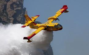 Картинка Вода, Bombardier 415, Пожарный самолет, Самолет амфибия, Департамент гражданской обороны Италии, Canadair CL-4
