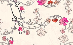 Картинка цветы, фон, flower, leaves, Background, patern