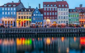 Картинка огни, река, дома, вечер, Дания, фонари, канал, Копенгаген