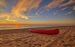 Картинка песок, закат, следы, побережье, лодка, Греция, Zacharo