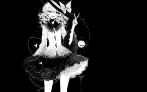 Картинка девушка, чёрный фон, ножницы, Touhou, Тохо, Тоухоу, аниме игра