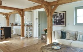 Картинка диван, интерьер, кухня, гостиная