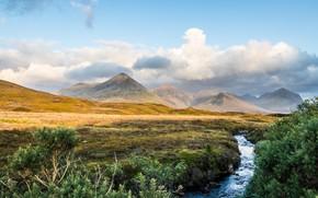 Картинка поле, небо, трава, пейзаж, горы, природа, ручей, красота, простор, панорама