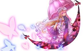Картинка девушка, бабочки, белый фон, Touhou, Тохо, Тоухоу