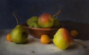 Картинка стол, муха, плоды, груша, фрукты, натюрморт, алыча