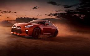 Картинка скорость, пыль, вечер, Nissan, GT-R
