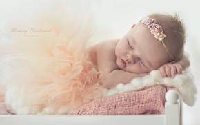 Картинка сон, девочка, малышка, веночек