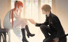 Картинка девушка, романтика, парень, Gintama, Гинтама