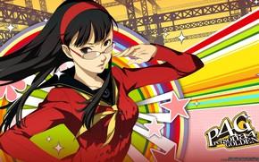 Картинка девушка, линии, фон, игра, аниме, арт, персона, Persona 5