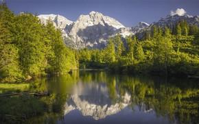 Картинка небо, пейзаж, горы, природа, река, красота, панорама, мостик