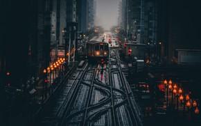 Картинка свет, город, огни, мрак, поезд, утро, Чикаго, фонари, США