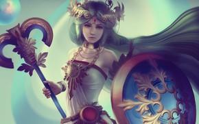 Картинка девушка, щит, жезл, art, Nintendo, Lady Palutena