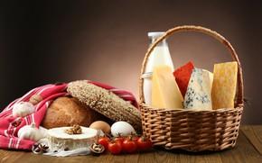 Картинка корзина, сыр, молоко, хлеб, помидоры, выпечка