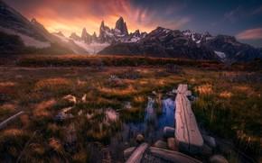 Картинка осень, трава, облака, закат, горы, доски, болото, кусты, водоем, Анды