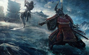 Картинка fantasy, armor, katana, battle, artist, ninja, digital art, fighting, artwork, concept art, Samurai, building, fantasy …