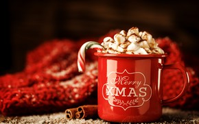 Картинка украшения, Новый Год, Рождество, кружка, Christmas, cup, New Year, decoration, xmas, Merry, hot chocolate, marshmallow, …