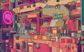 Картинка Город, Стиль, Здания, City, Fantasy, Архитектура, Арт, Art, Style, Illustration, Иллюстрация, Line Art, GuangYuan YU, …
