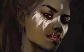 Картинка взгляд, девушка, лицо, фэнтези, арт, клыки, орк