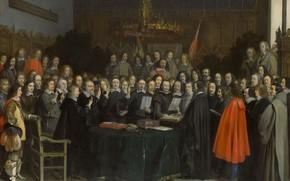 Картинка масло, картина, 1648, Герард Терборх, Gerard ter Borch, Инаугурация Вестфальского Мира