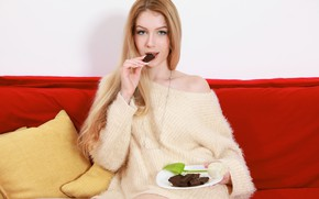 Картинка девушка, роза, шоколад, тарелка, подушка