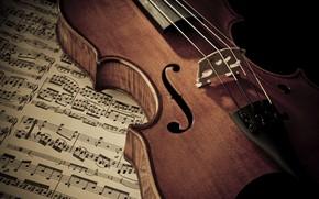 Картинка Скрипка, Ноты, Струны