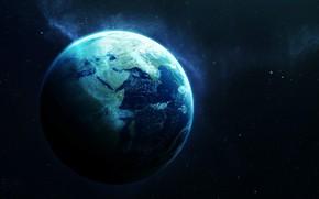 Картинка Звезды, Пыль, Планета, Космос, Земля, Арт, Stars, Space, Art, Earth, Planet, Система, Dust, System, Vadim …