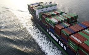 Картинка Океан, Море, Судно, Техника, Контейнеровоз, Мостик, Надстройка, Контейнера, Vessel, Evergreen, Грузовое судно, Container Ship, Evergreen …