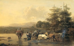 Картинка пейзаж, масло, картина, Николас Питерс Берхем, 1656, Воловий брод, Nicolaes Pietersz Berchem