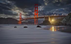 Картинка пейзаж, закат, горы, тучи, мост, пролив, камни, скалы, освещение, Калифорния, Сан-Франциско, Золотые ворота, США, Golden …
