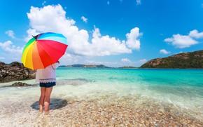 Картинка песок, море, пляж, лето, счастье, отдых, цвет, радуга, зонт, colorful, девочка, rainbow, girl, summer, happy, …