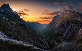 Картинка дорога, небо, вода, снег, деревья, закат, горы, скалы, Норвегия, Norway, Trollstigen, Romsdalen