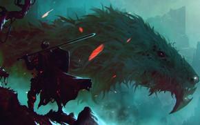 Картинка Дракон, Монстр, Доспехи, Меч, Воин, Морда, Fantasy, Dragon, Art, Фантастика, Dark Souls, Sword, Dark Souls ...