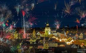 Картинка огни, праздник, башня, салют, Германия, Новый Год, Рождество, фейерверк, Бакнанг