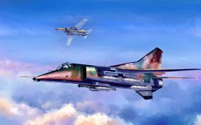 Картинка СССР, Сверхзвуковой, Истребитель-бомбардировщик, МиГ-27, авиабомбы, Flogger-D, шестиствольная пушка ГШ-6-30А