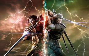 Картинка battlefield, sword, game, Soul Calibur, The Witcher, katana, man, fight, ken, wolf, blade, samurai, armour, …
