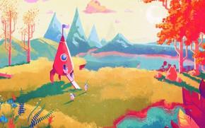 Картинка лес, небо, листья, солнце, облака, горы, озеро, камни, холмы, луна, поляна, растения, месяц, ракета, флаг, …