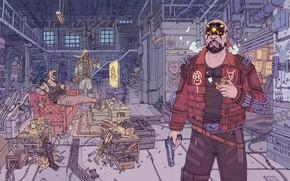 Картинка Робот, Пистолет, Оружие, Меха, Fantasy, Gun, Арт, Art, Robot, Фантастика, Киборг, Пистолеты, Weapon, Бандиты, Cyberpunk …
