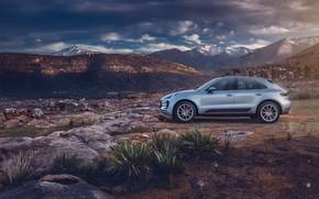 Картинка горы, камни, транспорт, Porsche, автомобиль