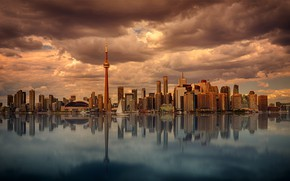 Картинка небо, вода, облака, мост, здания, Город, City, sky, bridge, water, clouds, высотки, building, high-rises