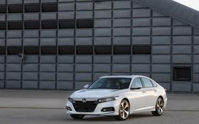 Картинка белый, здание, Honda, Accord, седан, 2018, Touring, 2.0T, четырёхдверный