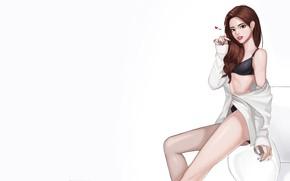 Картинка Girl, Art, Style, Background, Illustration, Minimalism, Character, lovely girl, kyu min Hwang