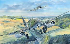 Картинка Messerschmitt, Hawker Tempest, Schwalbe, Me 262A-1a, Me-262