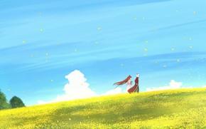 Картинка поле, девушка, природа, демон, парень, лисичка